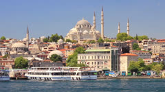Istanbul old city from the waterside Stock Footage