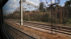 Train travel UK. Arched bridge. Stock Footage