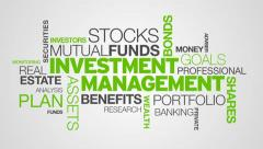 Investment Management Word Cloud Animation - stock footage