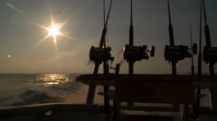 Fishing rods back of boat 01 HD Stock Footage
