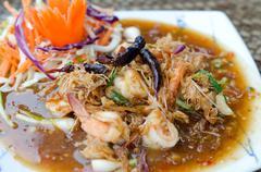 fried shrimp with tamarind sauce. - stock photo