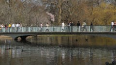 Blue Bridge in St James's Park. London, UK. Stock Footage