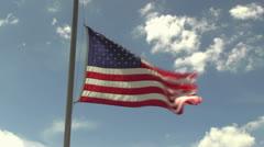 Flag flying at half mast Stock Footage