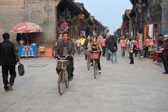 pingyao street's life - stock photo