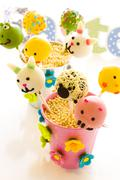 easter cake pops - stock photo