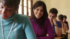 University education, portrait of female student during test - stock footage