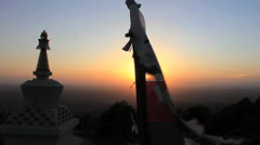 Prayer Flag & Stupa at Sunset #1 Stock Footage