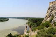 Stock Photo of devin castle towers, view to danube and morava rivers