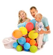 Family with pregnant woman and child. Stock Photos