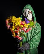 Stock Photo of woman in gas mask.
