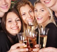 group young people at nightclub. - stock photo