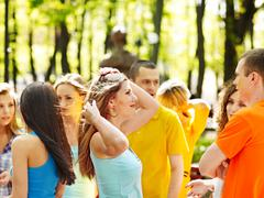 group people in summer outdoor. - stock photo