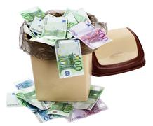 Stock Photo of money euro in bin. currency collapse.
