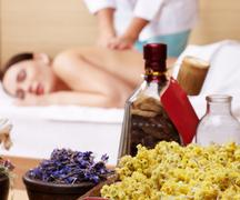 Stock Photo of young woman on massage table in beauty spa.  series.