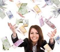 Business women with flying money. Stock Photos