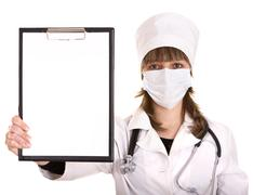 doctor with stethoscope and folder. - stock photo