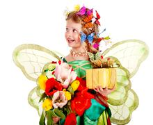 Child with flower and butterfly. Stock Photos