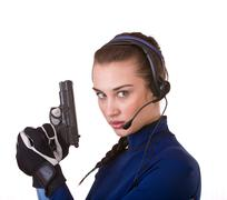 Woman with gun support customer. Stock Photos