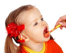 Child l clean brush teeth. Stock Photos