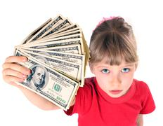 Girl in red sport t-shirt with money. angle. Stock Photos