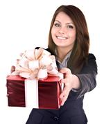 Business woman with gift box. Stock Photos