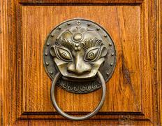 The vintage knocker of dragon Stock Photos
