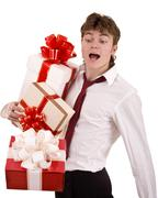 businessman with falling gift box. - stock photo