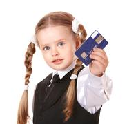 happy child with credit card. - stock photo