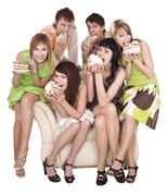 Group of people eat cake. Stock Photos