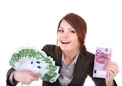 Young woman holding euro money. Stock Photos