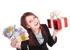Stock Photo of young woman holding euro money, and gift box,.