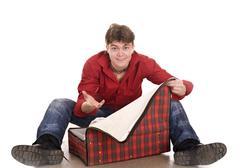 Happy man with travel suitcase . Stock Photos