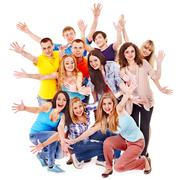 Group sport fan cheer for. Stock Photos