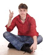 Clever handsome strong man. isolated. Stock Photos