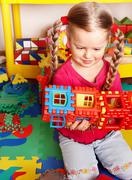 Stock Photo of child play block and construction set in playroom.