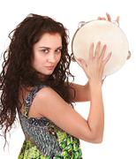 beautiful  girl with music instrument. - stock photo