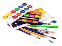 School art supplies Stock Photos