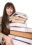 Stock Photo of clever girl with group  book.