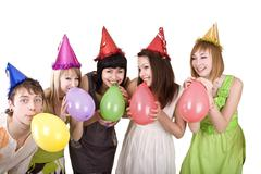 group of teenagers celebrate birthday. - stock photo