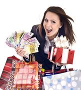 Business woman with money, gift, box, bag. Stock Photos