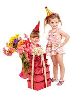 children in party hat. - stock photo