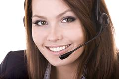 Girl  face from  support service. Stock Photos