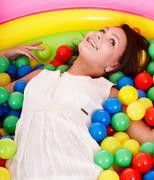 Happy birthday of girl on playground. Stock Photos