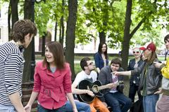 group of student on weekend. music - stock photo
