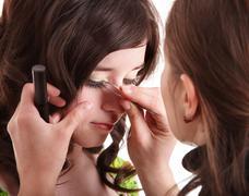Make up. False eyelashes. Stock Photos