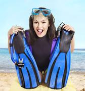 Girl wearing diving gear. Stock Photos