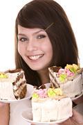 Stock Photo of girl choose of  chocolate cake.