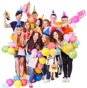 group people with balloon on party. - stock photo