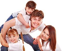 happy family with children. - stock photo