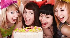 Group of young people celebrate happy birthday. Stock Photos